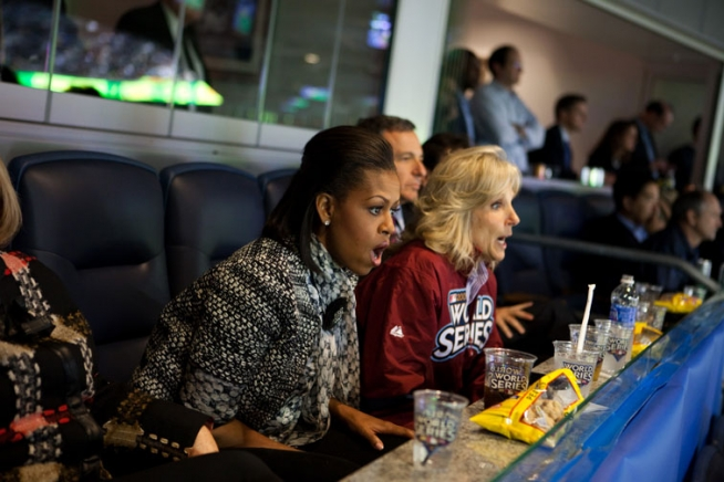 First Lady Michelle Obama and Dr. Jill Biden react to a play while watching Game 1 of the World Series between the New York Yankees and the Philadelphia Phillies at Yankees Stadium, in Bronx, N.Y., October 28, 2009.