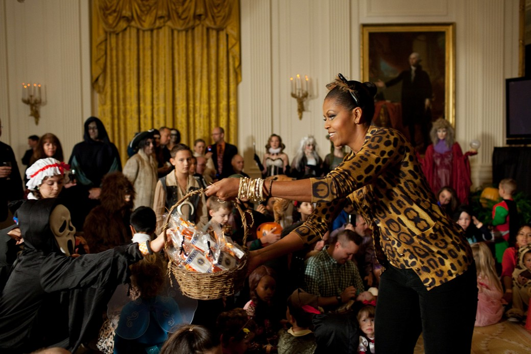 President Barack Obama and First Lady Michelle Obama host a Halloween reception for military families and children of White House and Residence staff in the East Room of the White House, Oct. 31, 2009.