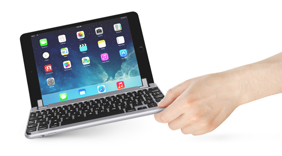 """The BrydgeMini helps transform your iPad into a """"laptop"""" by allowing you to attach this full-sized backlit aluminum keyboard."""