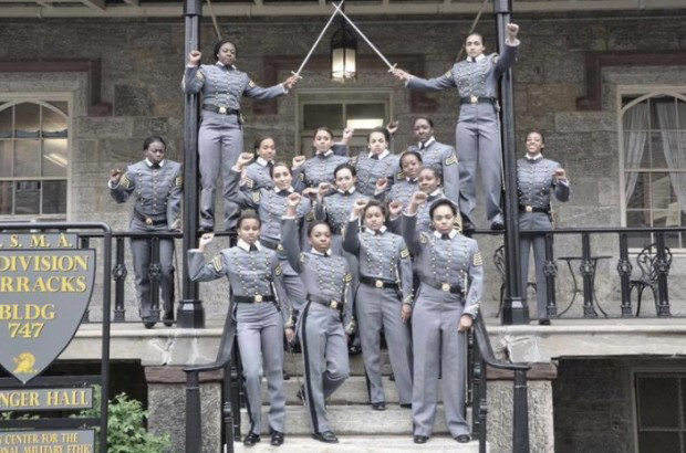 The United States Military Academy at West Point is investigating a photo that shows 16 African American female cadets in uniform displaying raised fists outside a U.S. Military Academy barracks. Twitter