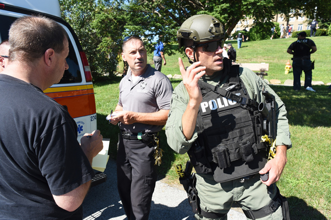 The Mount Saint Mary College Emergency Management Team responds to the simulated active shooter scenario during the August 4 training exercise. Photos Lee Ferris.