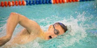 Freshman Cooper Knapp enjoyed his second NCAA B-cut time of the 2017 SUNYAC Championships and the men's swimming team at the SUNY New Paltz secured its second-consecutive second place finish in the final day of the Championships, held at Burt Flickinger Athletic Center. Photo: Robin Weinstein