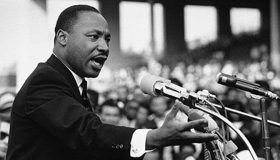 "Martin Luther King Jr., addresses a crowd from the steps of the Lincoln Memorial where he delivered his famous, ""I Have a Dream,"" speech during the August 28, 1963 March on Washington for Jobs and Freedom in Washington, D.C. Photo: Wikimedia Commons"