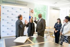 From left to right, Westchester County Clerk Timothy C. Idoni administering the oath of office to Deborah S. Raizes and Dr. Gregory Robeson Smith while Elizabeth Lugones, Robin Bikkal, and Westchester Community College President Belinda S. Miles look on.