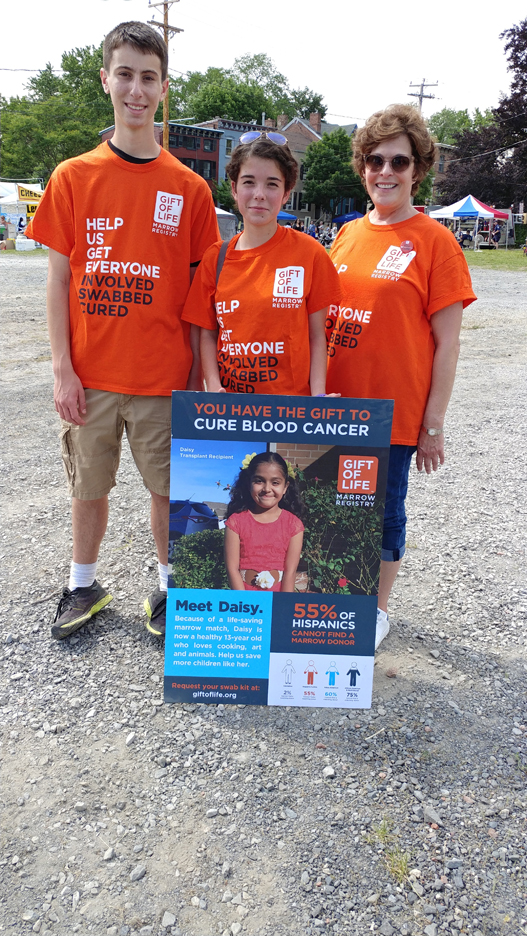 From Left to Right, Gabe Jentis, Alyssa Rider, and Mona Rieger helped to expand the registry by recruiting potential marrow donors at a recent community event.