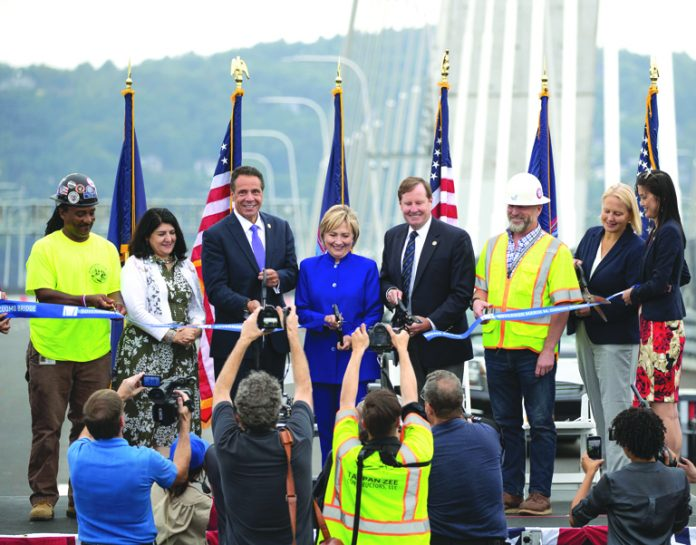 Governor Andrew M. Cuomo is joined by dignatarities for the official ribbon cutting marking the Grand Opening of the second span of the Governor Mario M. Cuomo Bridge. Photo: Mike Groll