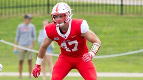 With 25 seconds remaining in the first half, red-shirt sophomore linebacker Grant Dixon intercepted a pass and took off down the left sideline for a 62-yard touchdown