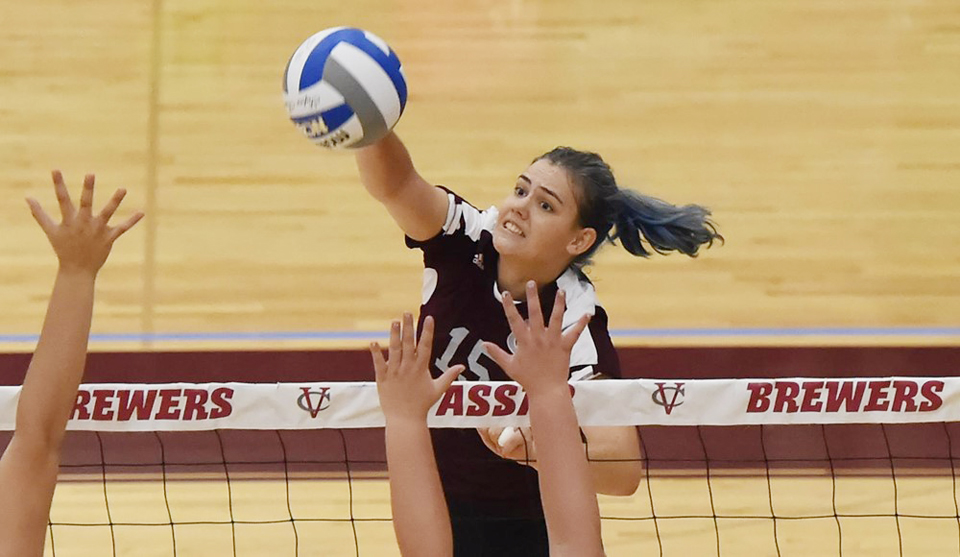 The Vassar College women's volleyball team rallied from two sets down to force a decisive frame against Scranton