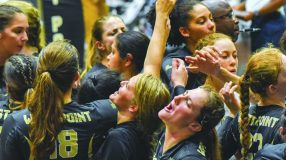 The Army West Point volleyball team rallied back to defeat the Bison in the final two sets for the victory.