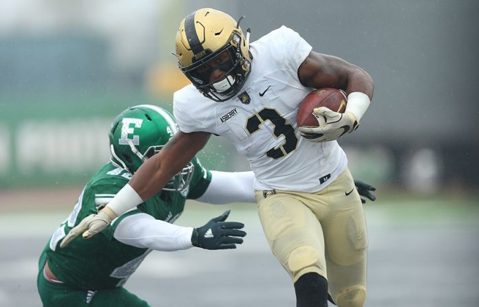 The Army West Point football team used two passing touchdowns in the second half to halt a charge from Eastern Michigan and earn a victory on Saturday at Rynearson Stadium. Army Black Knights Jordan Asberry, had a day for the Black Knights, recording a rushing and receiving touchdown in the win. Photo: Danny Wild-USA Today Sports