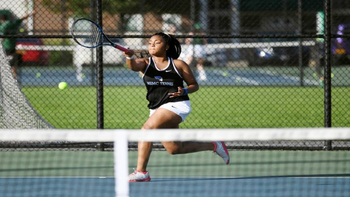 The Mount Saint Mary College Women's Tennis team closed out the 2018 regular season on Sunday with an important 8-1 victory over visiting St. Joseph's-Brooklyn. Miyanna Vernon (above) blanked her opponent at the fourth position, 6-0, 6-0, on her way to her fourth win of the season.