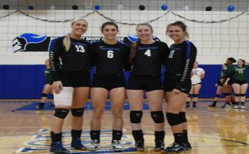 The Mount Saint Mary College Women's Volleyball team moved its conference winning streak to six matches on Senior Day with a 3-0 sweep of Sarah Lawrence and a thrilling five-set win against St. Joseph's-LI. . Pictured above MSMC seniors Nicole Spinelli, Alex Klesin, Lauren LeGere and Kim Gries.