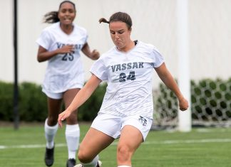 The Vassar College women's soccer team returned home Saturday and were topped by Skidmore. Photo: Carlisle Stockton