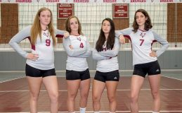 The Vassar College women's volleyball team honored its four seniors, Lydia Bailey, Annie MacMillan, Lauren Ninkovich and Devan Gallagher, prior to its regular season finale on Saturday afternoon. Photo: Carlisle Stockton