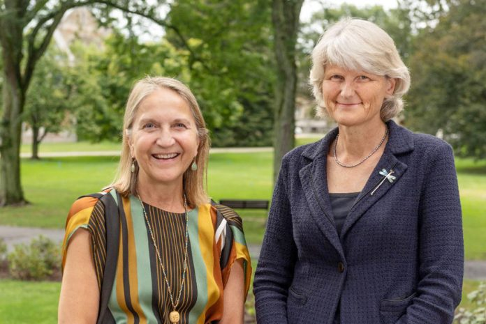 Dutchess Community College President Pamela Edington (left) and Vassar College President Elizabeth Bradley pose for a photo.