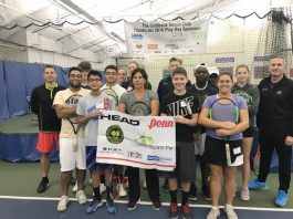Former tennis professional, Gigi Fernandez, led a clinic Saturday morning at Sportsplex, relaying pivotal doubles play tips to members of the Goldback Tennis Club. Fernandez, a 17 time Grand Slam Doubles Champion, also taught an adult session later in the morning. Pictured are members of the Goldback Tennis Club, Fernandez in the front center and Sportsplex Managing Partner, Mark Savage, back right.