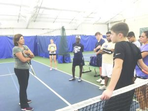 Former tennis professional, Gigi Fernandez, led a clinic Saturday morning  at Sportsplex, relaying pivotal doubles play tips to members of the Goldback Tennis Club.