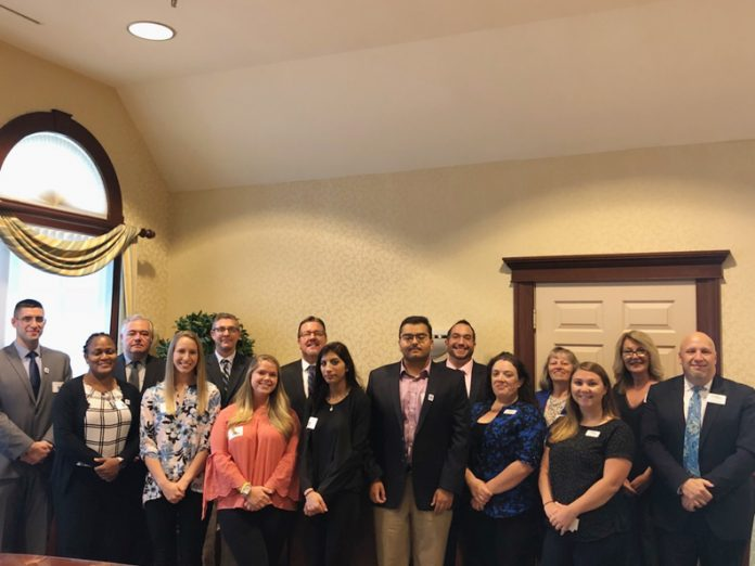 Students from Mount Saint Mary College meet with Walden Savings Bank at a welcome reception as part of the bank's Medici Program. Pictured left to right, front row: Santino Milanese, Medici Program Scholar; Crystal Mullings, Medici Program Scholar; Emily Lang, Medici Program Scholar; Kristie MacBride, Medici Program Scholar; Suzan Al Nesheiwat, Medici Program Scholar; Mohammed Khan, Medici Program Scholar; Nichole Moretto, Bank Operations Administrator, Walden Savings Bank; Abigail Doyle, Executive Assistant, Walden Savings Bank; John Carola, Vice President, Retail Delivery and Marketing, Walden Savings Bank.