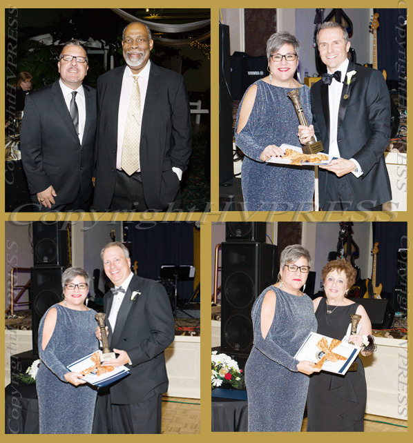 Pictured clockwise from top left: President of Walden Savings Bank and Pillar Alumni Derrik Wynkoop with Cornerstone Board of Directors member Colin Jarvis; Dr. Gerard J. Galarneau accepts the pillar award for Distinguished Service on behalf of Orange Regional Medical Center from Linda S. Muller; Raena Endick Korenman received the Lifetime Achievement Award from Linda S. Muller; and Orange County District Attorney David M. Hoovler, Esq. receives the Distinguished Service Award from Linda S. Muller. Hudson Valley Press/CHUCK STEWART, JR.