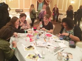 "Women painted glasses at ""What Women Want"" with Created With Love Boutique."