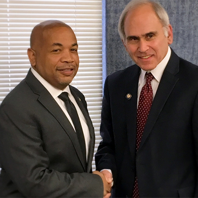 Newly elected Assemblyman Jonathan Jacobson (D, Newburgh) [pictured on right, alongside Carl Heastie on left] ]will not be waiting until January to fill the position.