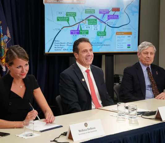 Governor Cuomo, center, holds a press briefing on his meeting with President Trump to discuss infrastructure priorities, including the Gateway Tunnel. Melissa DeRosa, Secretary to the Governor and Richard Cotton, head of the Port Authority joined Cuomo.