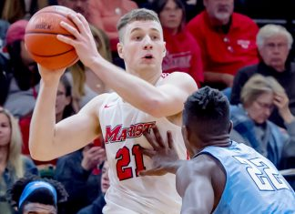 The Marist men's basketball team closed out its eight-game stretch away from McCann Arena with a triumph at New Hampshire.