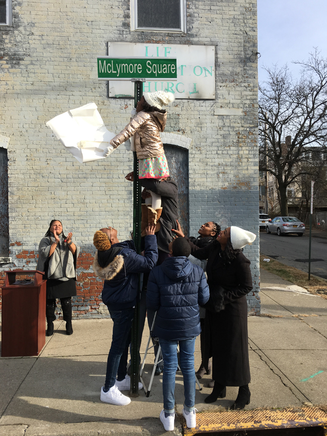 """On Saturday, December 1, the intersection of Chambers Street and First Street was renamed McLymore Square in honor of Pastor Robert """"RD"""" McLymore Sr., senior pastor of Life Restoration Church."""