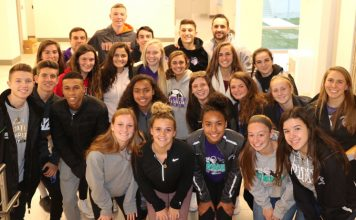 Members of the Monroe-Woodbury boys and girls soccer teams pose for a picture at the Government Center on Thursday, December 6th after being recognized by the Legislature and Orange County Executive Steven M. Neuhaus. Included in the picture are Monroe-Woodbury boys soccer assistant coach Marc Gawron, boys coach Kenny Clearwater and assistant girls coach Kate Santoianni.
