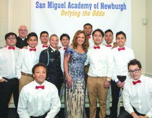 Singer/Actress Vanessa Williams poses with the students of San Miguel Academy of Newburgh during their Holiday Benefit Concert. Photo: Simon Feldman