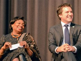 New York State Senator James Skoufis, right, is joined at his swearing-in ceremony at Monroe-Woodbury Middle School by State Senate Majority Leader Andrea Stewart-Cousins.
