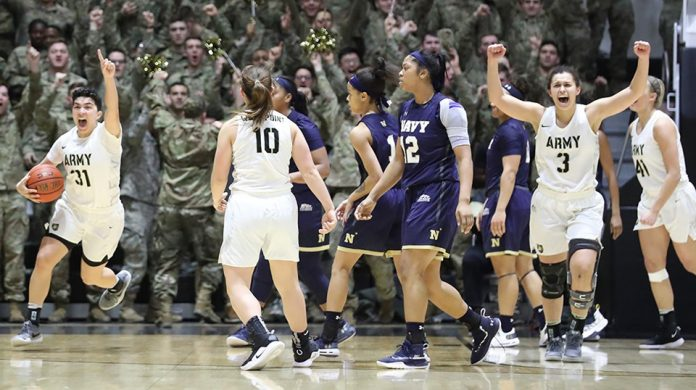 The Army West Point women's basketball used a 16-2 second-half run to pull ahead of rival Navy before holding on for a 55-52 win Saturday afternoon at Christl Arena.