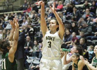 Army's Jess Lewis dropped a season high 20 points.