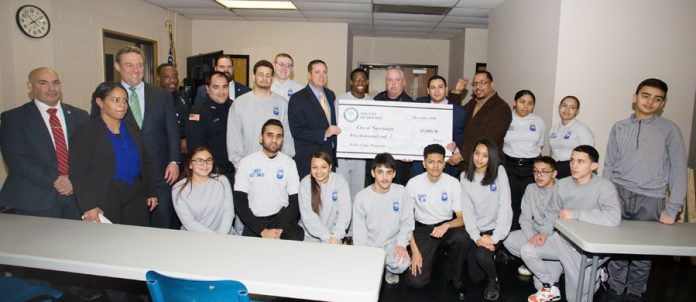 The City of Newburgh Police Department received a $5,000 check on Thursday, January 3, 2019 from Orange County Executive Steven Neuhaus to support its Junior Police Cadet Academy program. Hudson Valley Press/CHUCK STEWART, JR.