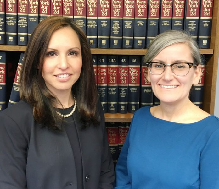 Pictured above from left to right: Jennifer S. Echevarria and Alanna C. Iacono, they have been named senior counsel in the firm, Jacobowitz and Gubits LLP (J&G).