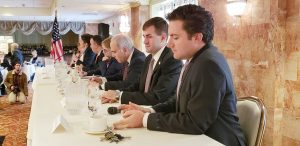 Elected officials answer questions during the Orange County Chamber breakfast at Anthony's Pier Nine in New Windsor on Thursday.