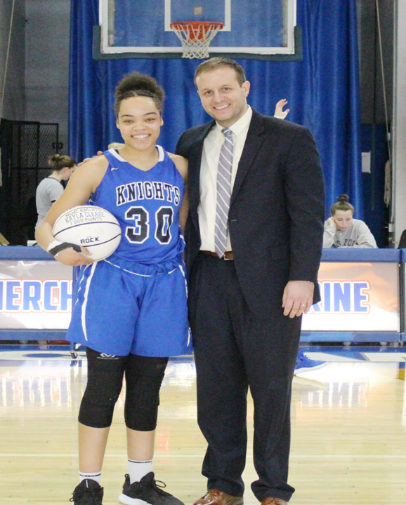 Senior Kayla Cleare finished with 10 points and six rebounds to push her over 1,000 points for her career and break the career rebounding record mark set by LaSheena Brown.