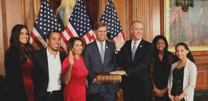 From left to right: Megan Durand, Reiniel Florke, House Speaker Nancy Pelosi, Randy Florke, Sean Patrick Maloney, Daley Maloney Florke, Essie Maloney Florke