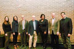 Alexis Grennell, Dr. Christina Greer, Brian Lehrer, Douglas Shoen, Dr. Belinda S. Miles (President, Westchester Community College), Ari Fleischer, and John Berman pose for a photo.