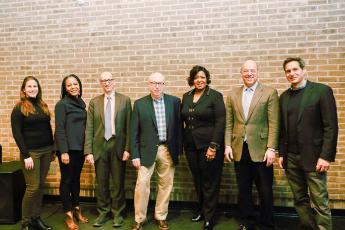 Alexis Grennell, Dr. Christina Greer, Brian Lehrer, Douglas Shoen, Dr. Belinda S. Miles (President, Westchester Community College), Ari Fleischer, and John Berman pose for a photo.