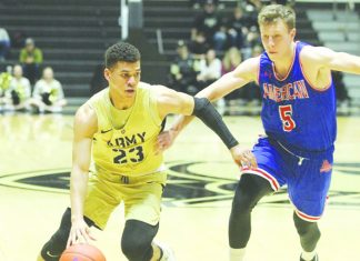Despite a late rally, the Army West Point men's basketball team was unable to complete the comeback and ultimately fell, 77-67, to American in a Patriot League contest on Saturday at Christl Arena.