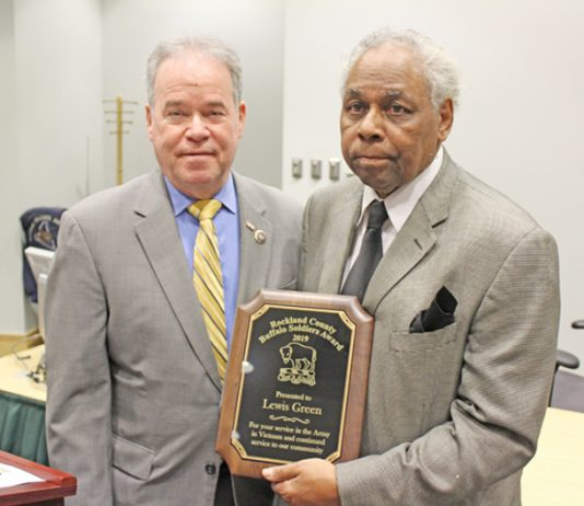County Executive Ed Day (left) and Director Susan Branam (not pictured) of Rockland's Veterans Service Agency presented the 2019 Buffalo Soldiers Award to local veteran Lewis Green (right) during a special ceremony on Wednesday, February 6, 2019.