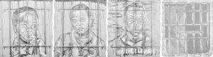 "The ""Eeny, Meeny, Miny, Mo"" series of paintings by Nashville artist Omari Booker."