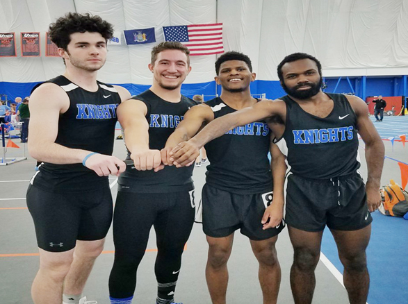 The Men's squad had a record setting day with the 4x200 relay team and senior Peter Zecchin setting new school records for the Knights.