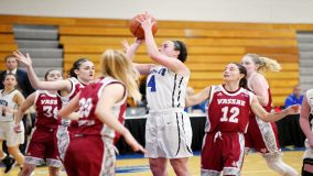 Freshman Lauren Desrats poured in a career-high 19 points as the Mount Saint Mary College Women's Basketball team held off a furious Farmingdale State fourth quarter comeback to defeat the Rams 63-61.