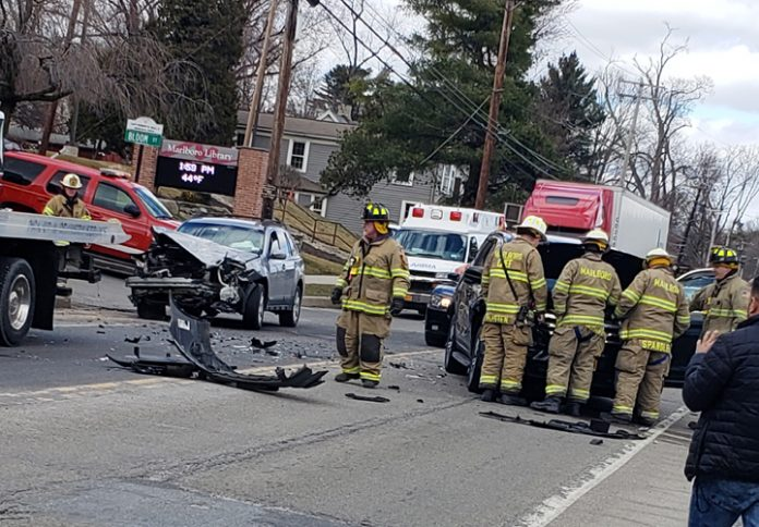 This two car crash in Marlboro snarled traffic on 9W in both directions Saturday. Photo: Tyler Wilkinson