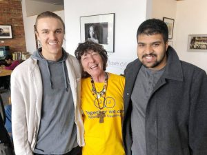 Robert Macherhammer, Shelly Starky and Hari Raval from Bliss Kitchen. pose for a photo. Bliss Kitchen donated food for the Repair Café event.