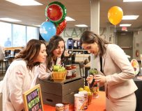 Orange County Commissioner of Health Dr. Irina Gelman talks with ShopRite registered dietitians Kelly Pearson (left) of ShopRite of Montague, N.J. and Gina McAteer (right) of Warwick ShopRite at the Warwick store on Friday, March 15th.