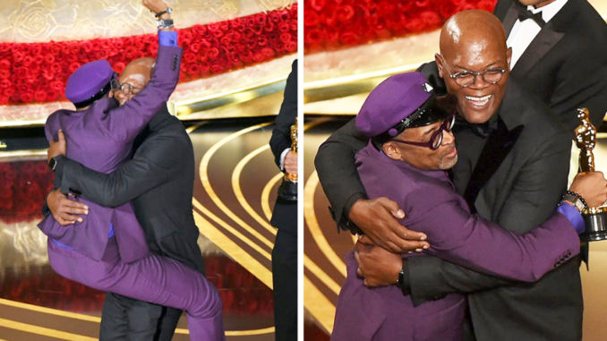 Spike Lee and Samuel L. Jackson celebrate Lee's 2019 Oscar win for Best Adapted Screenplay.