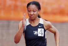 Army women's track & field team was defeated by rival Navy in the Army-Navy Outdoor Star Meet. Photo: Don Fallico